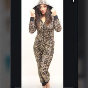 Topshop Leopard Print Adult Onsie Size M